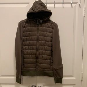 Timberland quilted front zip jacket olive green